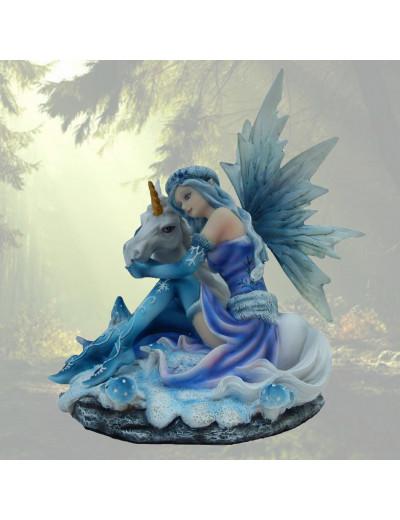 Fée bleu avec licorne