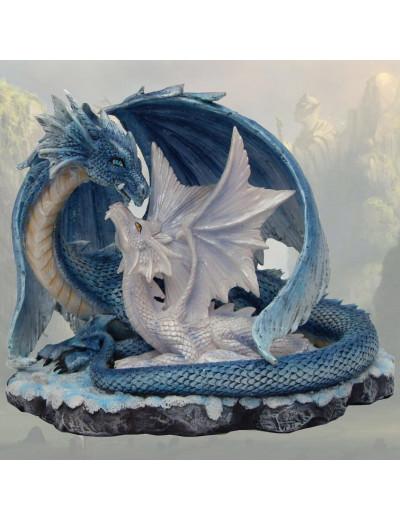 Couple de Dragons Bleu et Blanc